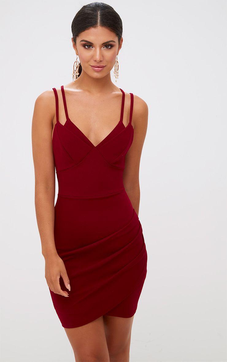 5d15fa98608 Khaki Double Strap Wrap Skirt Bodycon Dress in 2019