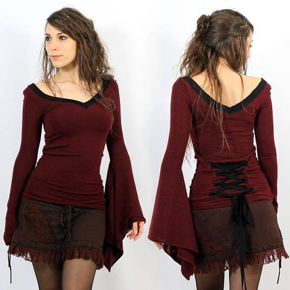 Alternative Kleidung top mittelalter elfe fee boho hippie nymphe für frauen