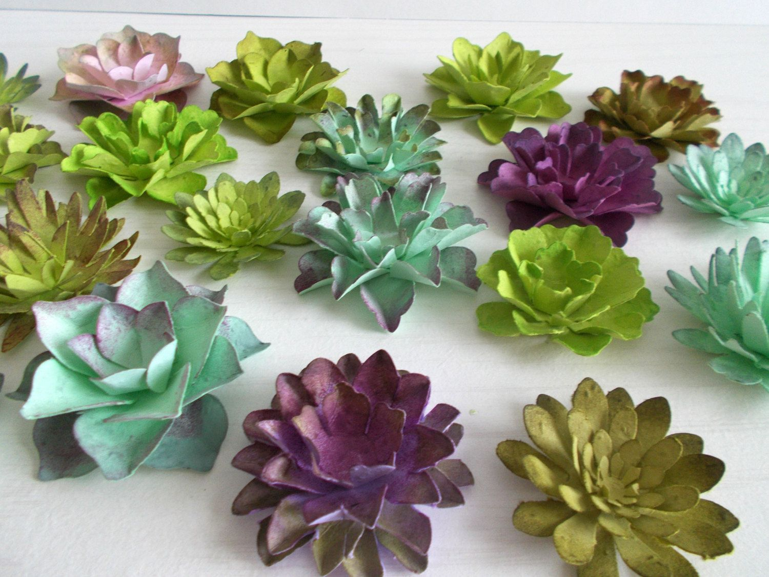 12 Paper Succulents Made From Seeded Paper Hand Inked Paper