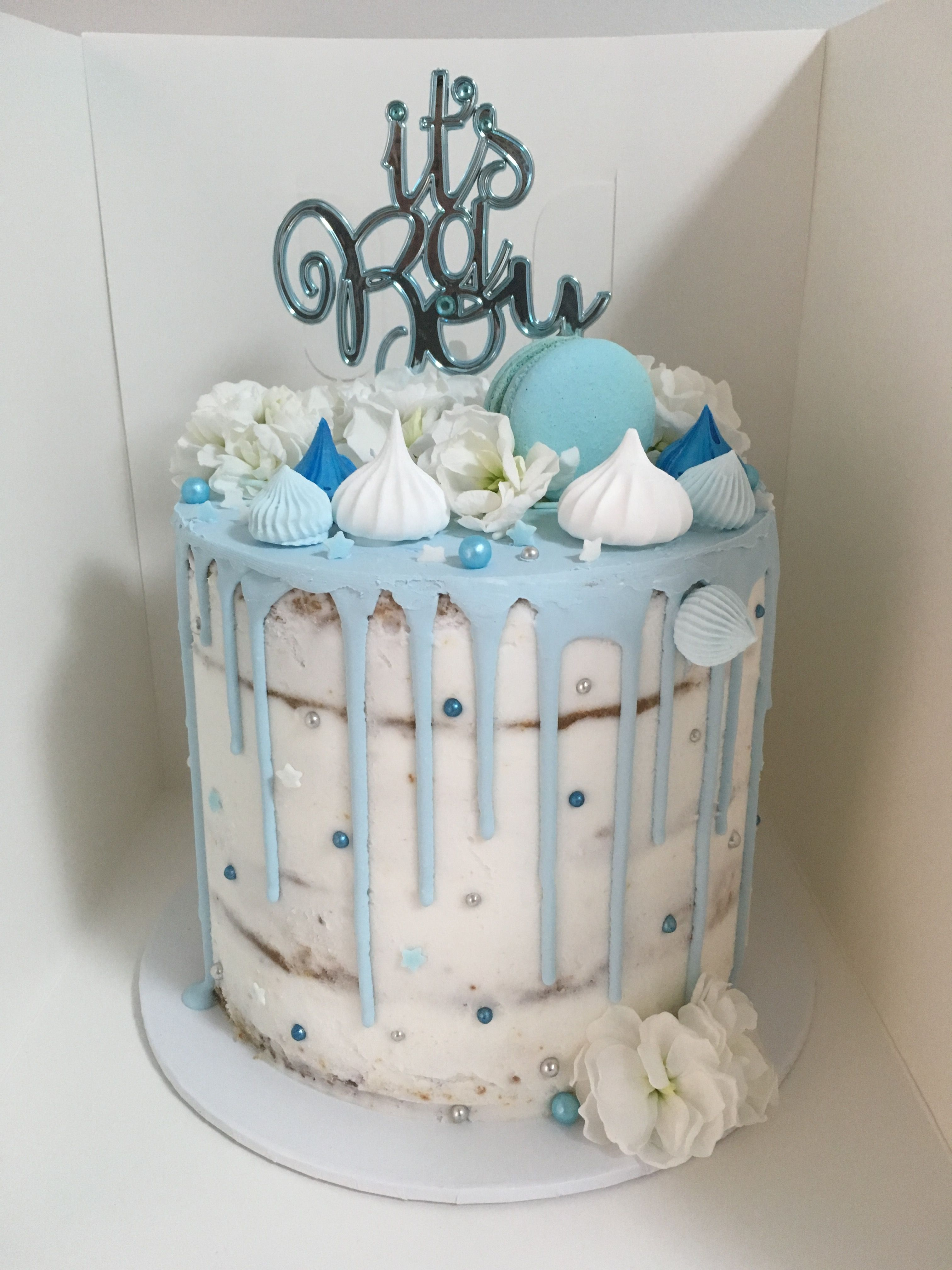 It S A Boy Baby Shower Cake Semi Naked White Chocolate