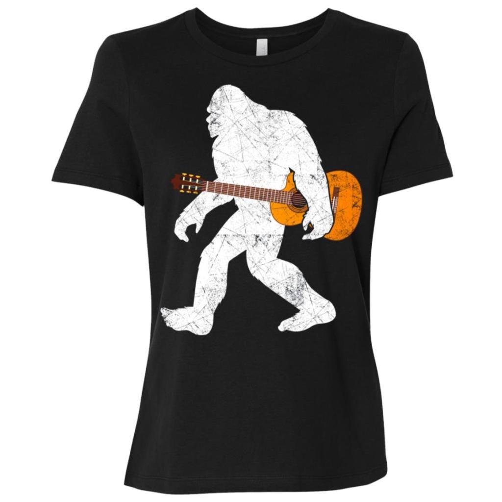 4862016f7 Bigfoot Sasquatch Carrying Guitar Funny Music Gifts Women Short Sleeve T- Shirt - BigShopper