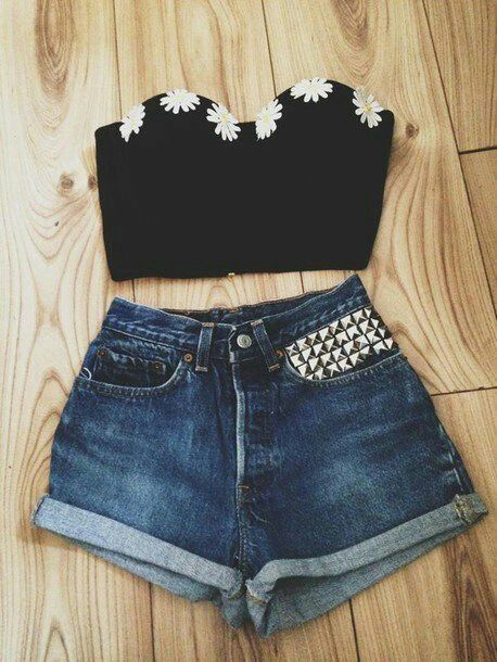 Black crop top w/ daisies paired with high waisted shorts w/ studs