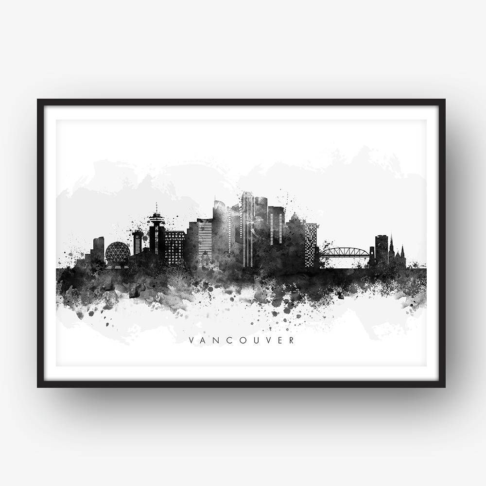 Vancouver skyline vancouver canada cityscape art print wall art watercolor watercolour