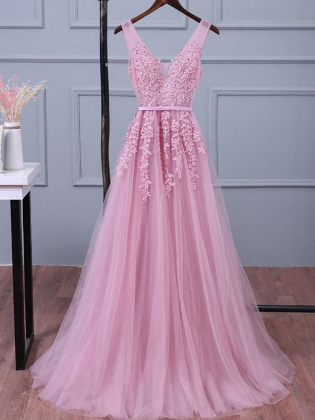 Baby Pink V-neck Tulle Prom Dresses with Appliques Party Dresses ...