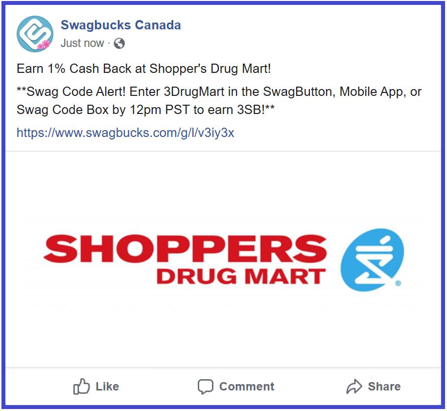 SwagBucks New #SwagCode #3 #Canada  Please enter 3DrugMart