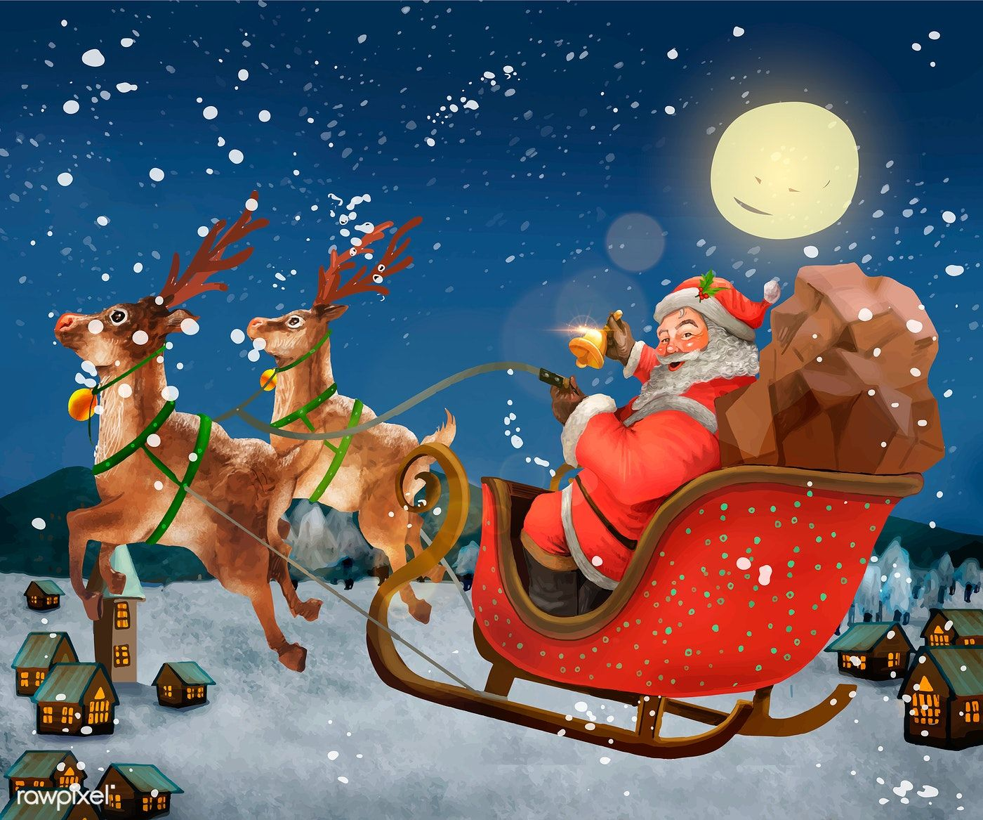 Hand drawn santa claus riding a sleigh delivering presents