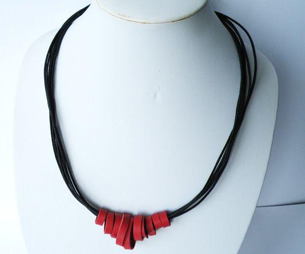 Collana MultiFili Cerchi Pelle Rossa e Nera - SteamyLab - Collane