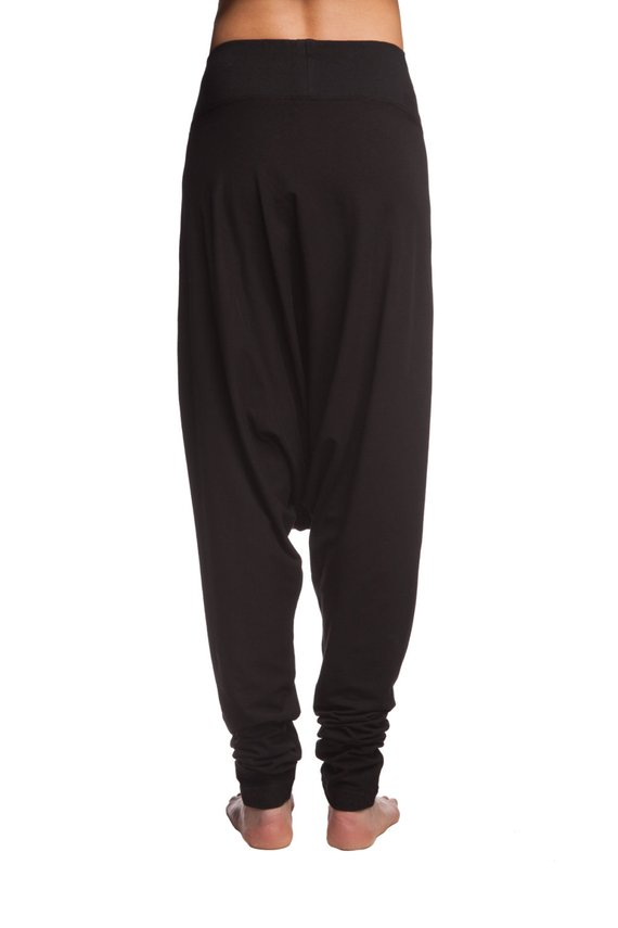 Alinamalina Dropped Crotch Yoga Cotton Pants -Blck Harem Yoga Pants - Loose  Black Cotton Pants e41154fb5ed