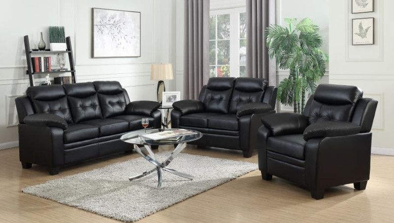 506551 52 2 Pc Finley Black Faux Leather Sofa And Love Seat Set With Overstuffed Arms Living Room Sets Leather Living Room Set Sofa And Loveseat Set