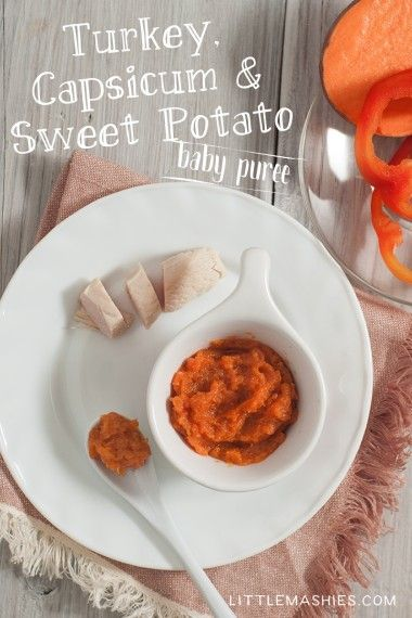 Baby Food Recipe Turkey Sweet Potatoes And Capsicum Baby Puree From