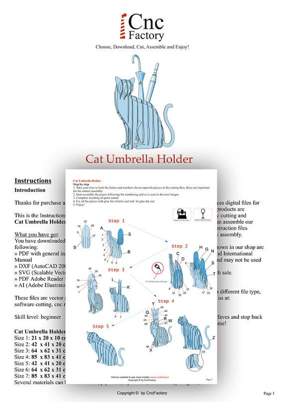 CAT UMBRELLA HOLDER - Template cutting file - Cat Unmbrella stand ...