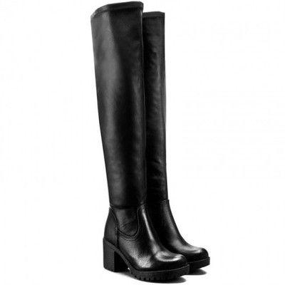 Lux4 Kozaki Muszkieterki Jenny Black Boots Heeled Boots Knee Boots