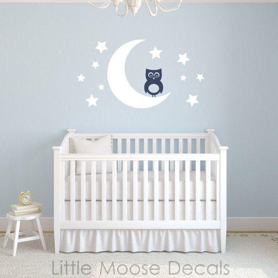 Baby Wall Decal Vinyl Owl Moon Stars Nursery By LittleMooseDecals - Nursery wall decals stars
