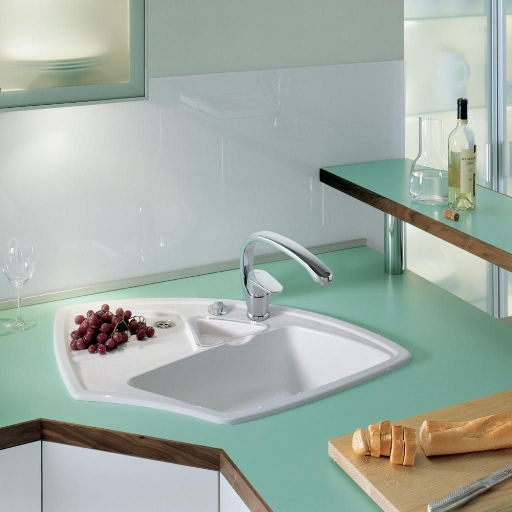 Kitchen Decoration Using White Ceramic Corner Kitchen Sink Along ...