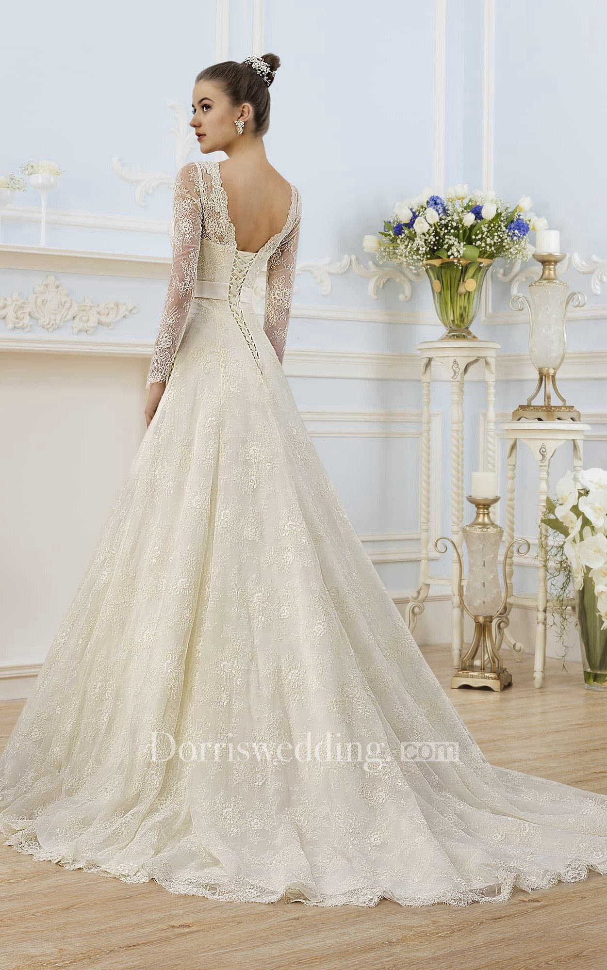 A Line Floor Length V Neck Illusion Sleeve Corset Back Lace Dress With Appliques And Bow Wedding Dresses Corset Wedding Dresses Lace Wedding Dresses