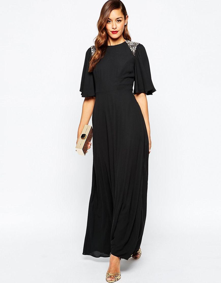 Image of asos tall embellished shoulder flutter sleeve maxi dress