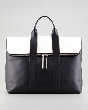 3ae8cbbca8 3.1 Phillip Lim 31-Hour Fold-Over Tote Bag, Black/White on shopstyle.com