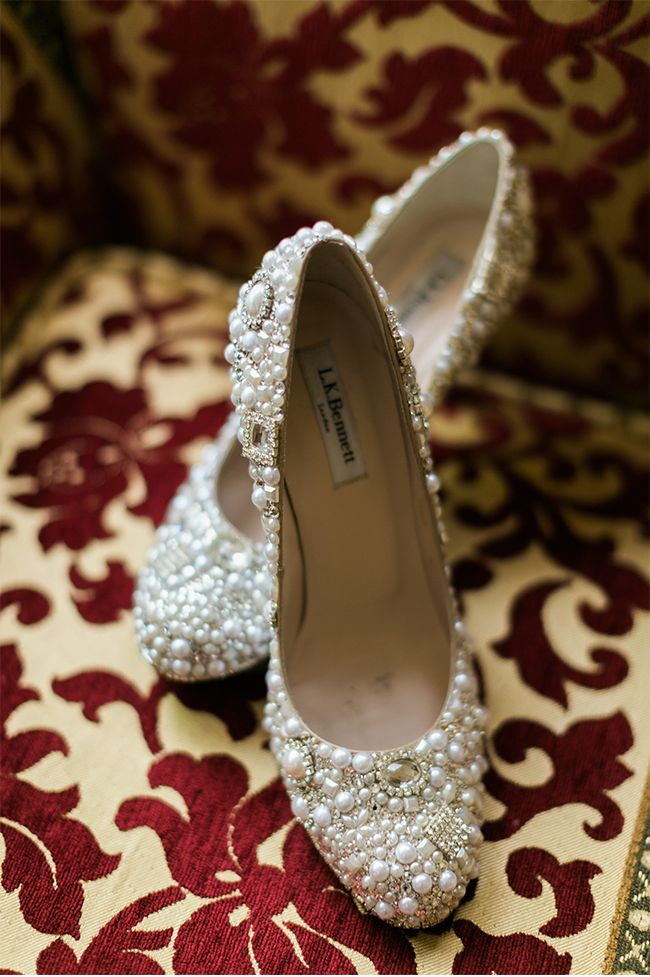 Shoes covered in glitter and pearls! A Los Angeles Wedding Photographed by Jeremy Chou