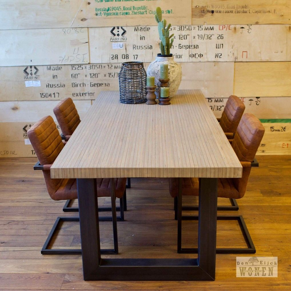 Eetkamer tafel uniek den eijck blad metalen onderstel for Eettafel stoelen cognac