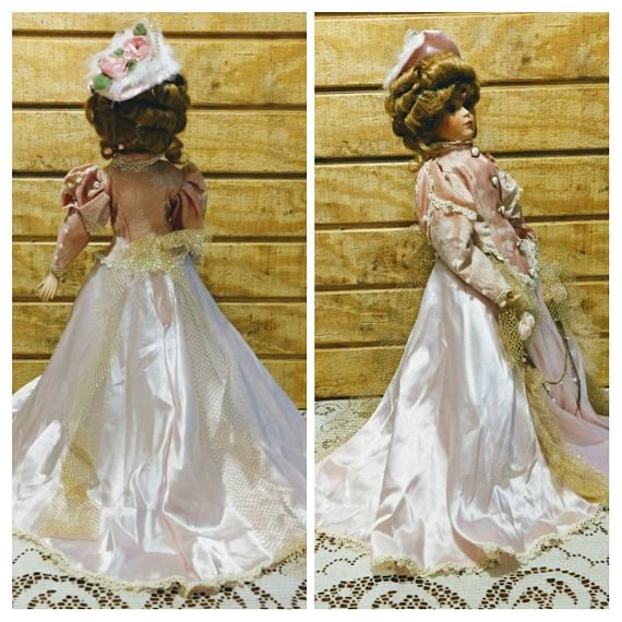 Queena Mint Victorian Numbered 24 Porcelain Doll 1980s Flower