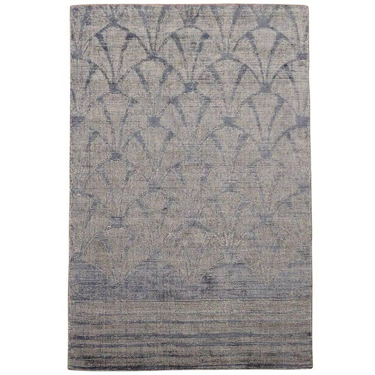Modern Bamboo Silk And Wool Rug With