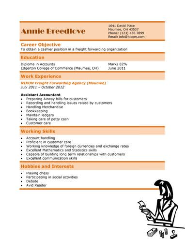 Free Cashier Resume Templates Download Sample Content And Designs Resume Templates Resume Resume Template Free