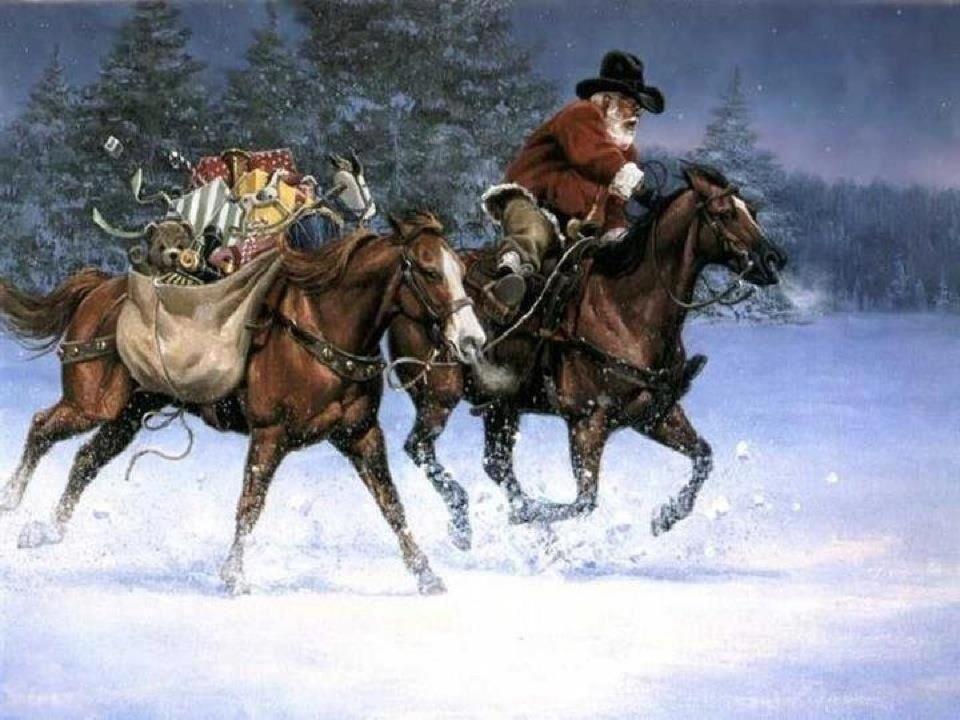 Snowy horses.