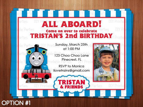 Printable DIY Blue and Red Thomas the Train Theme Personalized – Choo Choo Train Birthday Invitations