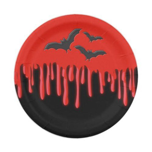 Gothic Bats & Red Dripping Blood Halloween Party Paper ...