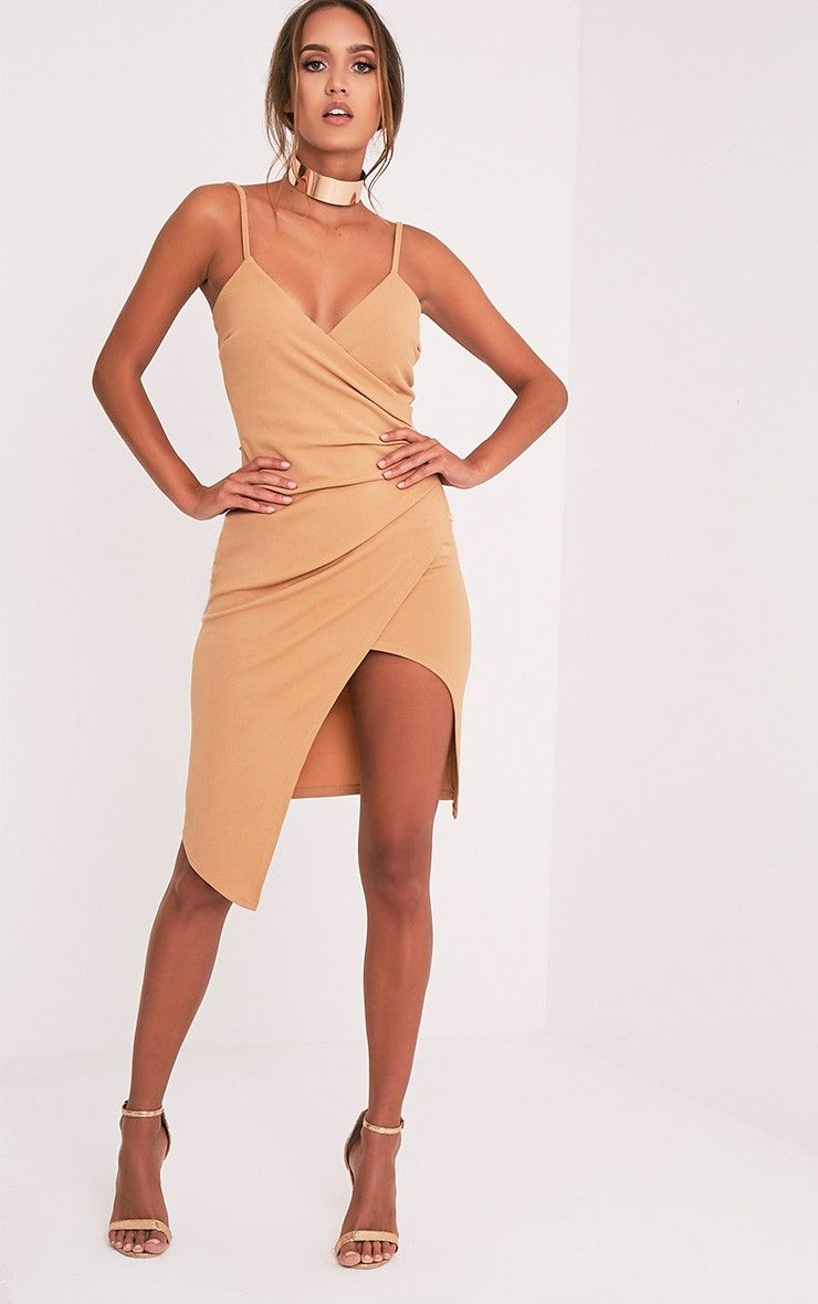 Camel Wrap Front Crepe Midi Dress Channel slick and sophisticated ...