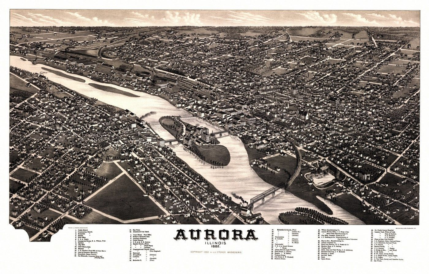 Vintage Map of Aurora Illinois 1882 Du Page County Aurora