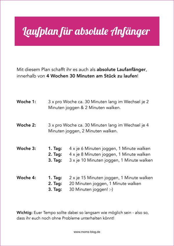 Laufen für Anfänger: So schafft ihr es in 4 Wochen, 30 Min. durchzulaufen! ⋆ Moms Blog, der praktische Familienblog!