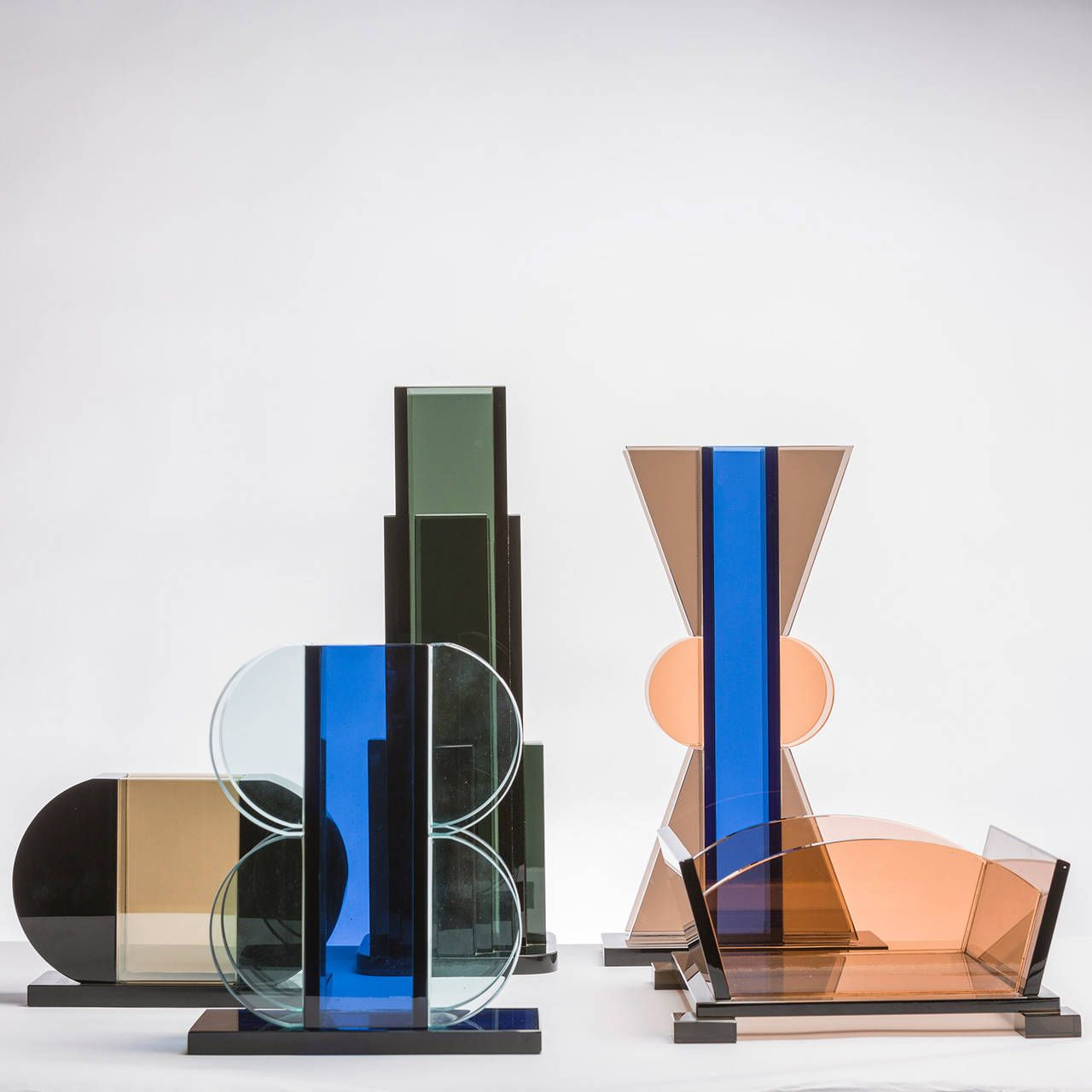 Rare Set of Five Vases by Ettore Sottsass for Fontana Arte ...