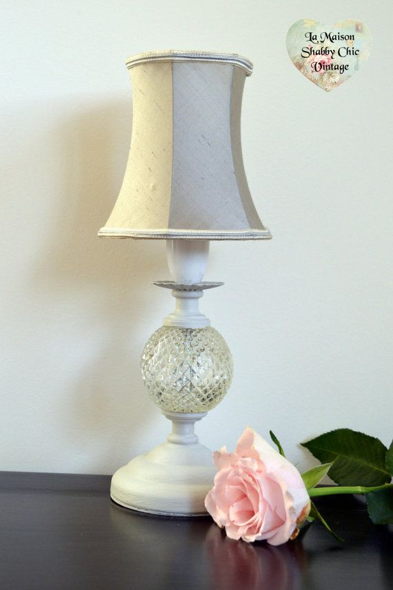 Light Grey Bedside Table: Light Grey Hand Painted Table Lamp With By