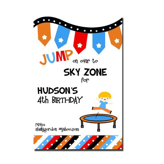 Trampoline party invitation sky zone birthday invitation digial looking for a invitation for my sons b day party at skyzone he name is hudson look what i found already created trampoline party invitation sky zone stopboris Gallery