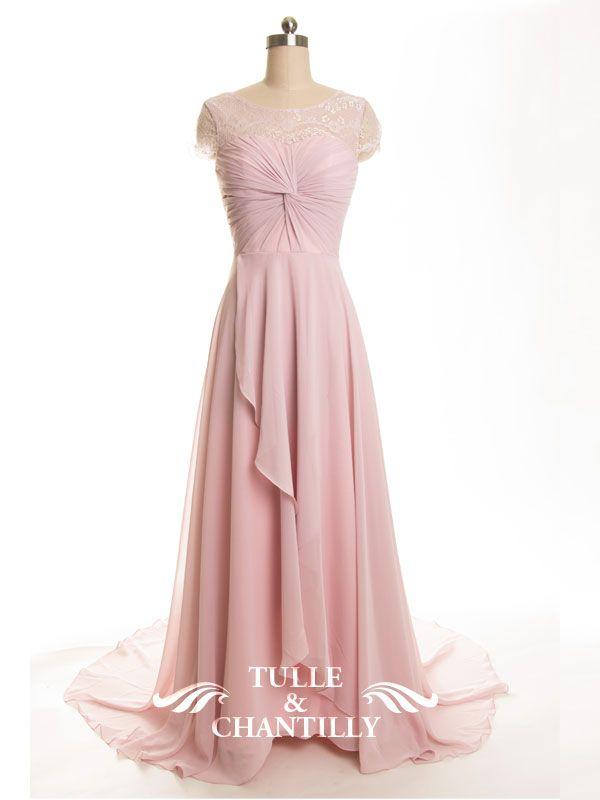Bateau Neck Lace Cap Sleeves Chiffon And Lace Bridesmaid Dress TBQP303
