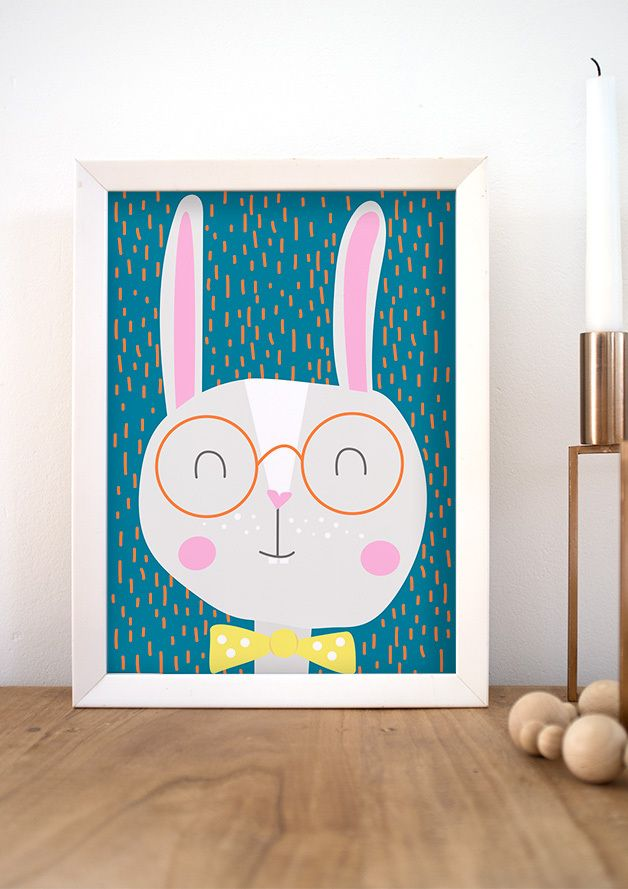 Lustiges Hasenbild, Hipster Hase / funny art print with hipster bunny made by DORO ILLUSTRATIONS via DaWanda.com