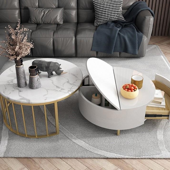 Modern White Walnut White Round Coffee Table With Storage Wood