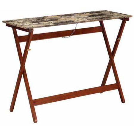 Admirable Folding Buffet Tray Table Faux Tile Top Brown Products Lamtechconsult Wood Chair Design Ideas Lamtechconsultcom