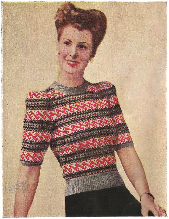 1940s Knitting Pattern for Womens Fair Isle Jumper - Delectable ...
