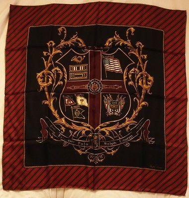 9bf8b4717057a Vintage Polo Ralph Lauren Black red Crest Silk Scarves 34inch  falg stadium  92 9
