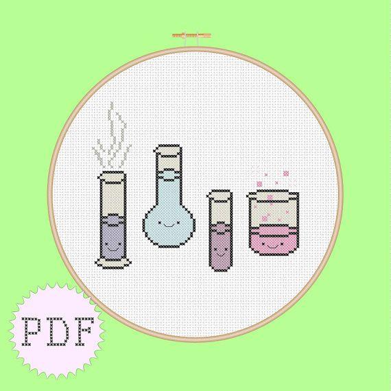 Kawaii Chemistry cross stitch pattern