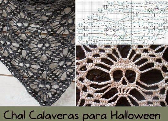 Chal Calaveras para Halloween Tutorial - Patrones Crochet | chales ...