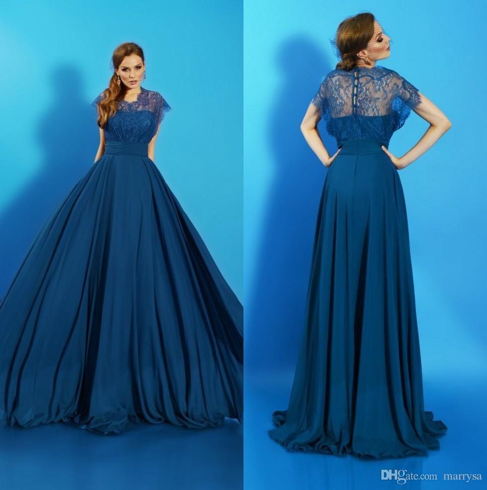 2016 Elegant Prom Dresses Dark Blue Lace Chiffon Sexy Back Evening ...