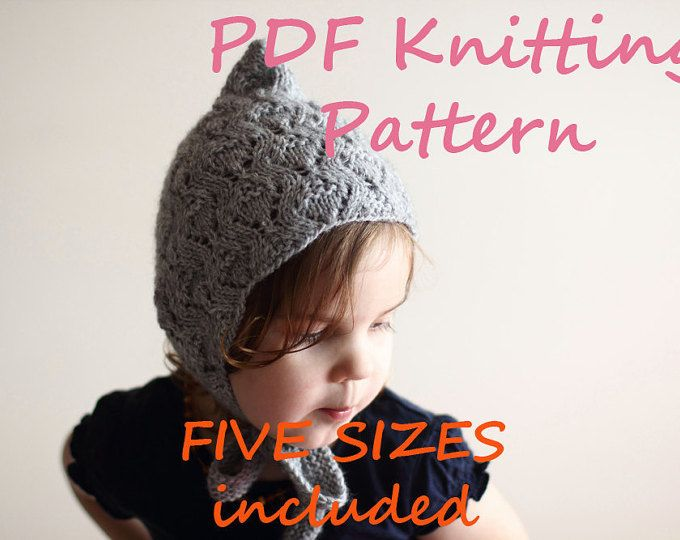 2ff9f2636fb0 Knitting Pattern PDF - Infant and Toddler Pixie Bonnet Knitting Pattern