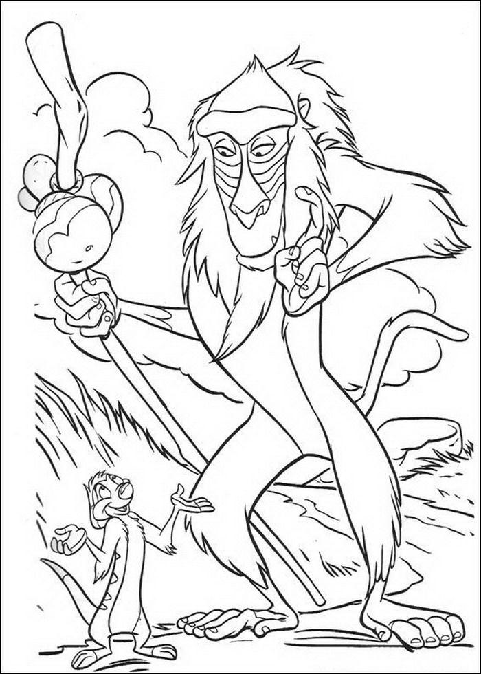 Kleurplaten Van De Leeuwenkoning.Kleurplaat Lion King Of De Leeuwenkoning Rafiki Praat Met Timon