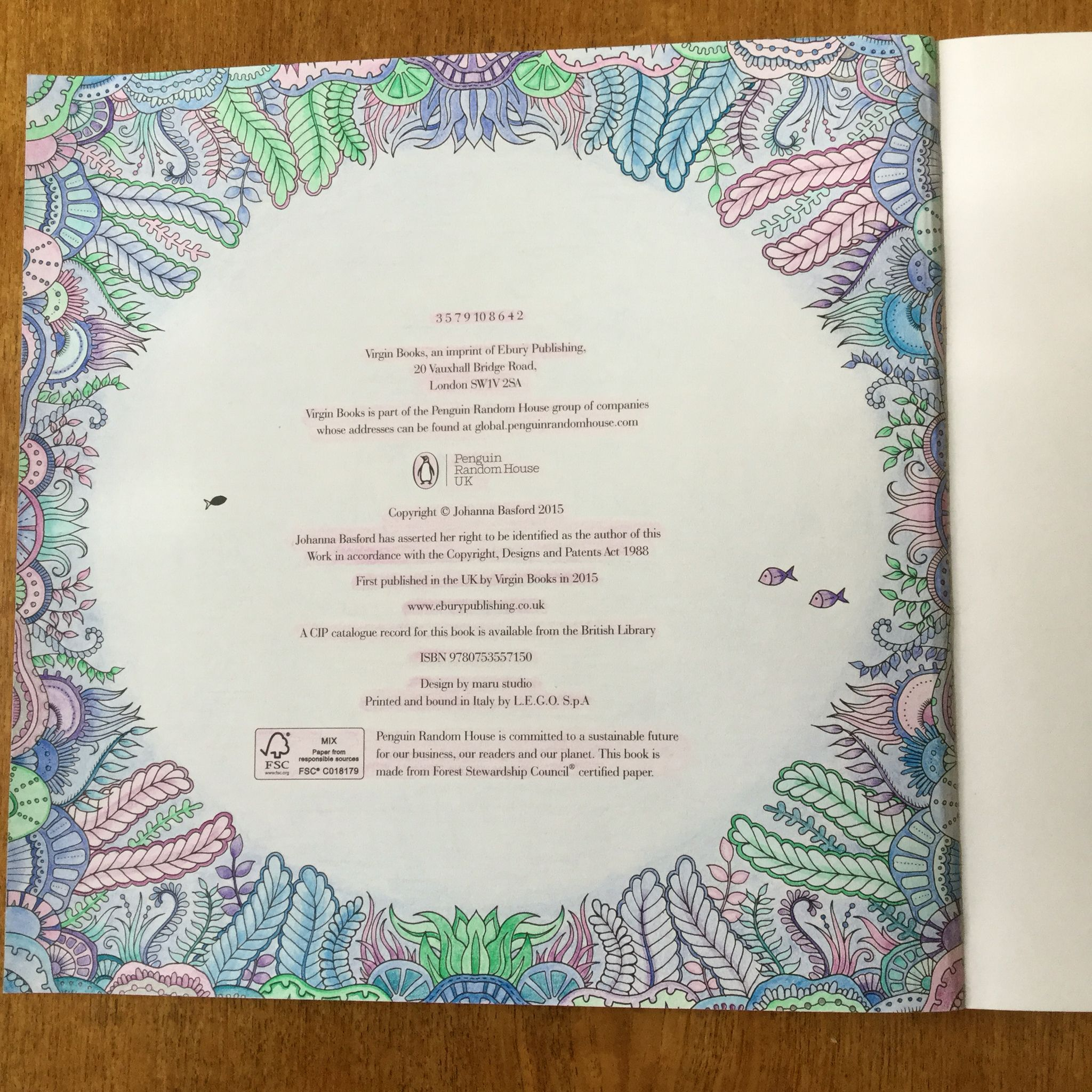 Inside Front Cover Page Of Lost Ocean Colouring Book Coloured By Sally Bath Lost Ocean Coloring Book Lost Ocean Coloring Books