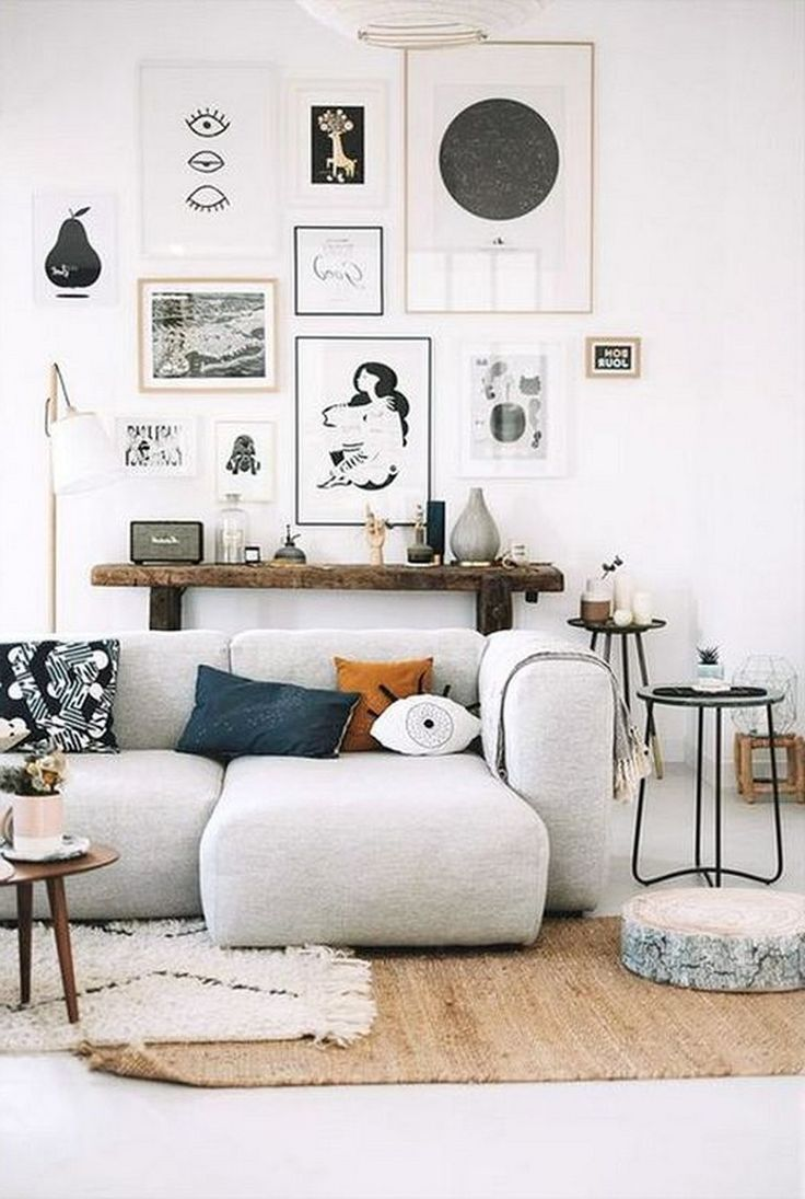 23+ Cool Black and White Wall Gallery Decorating Ideas for Living Room images