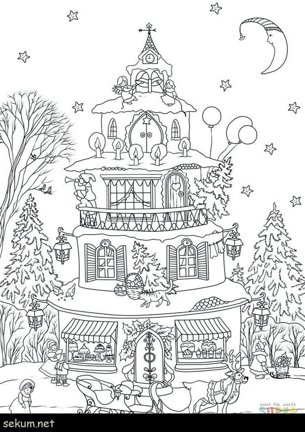 Gingerbread House Coloring Page Lovely Coloring Tremendous Gingerbread House Colori House Colouring Pages Christmas Coloring Books Christmas Tree Coloring Page