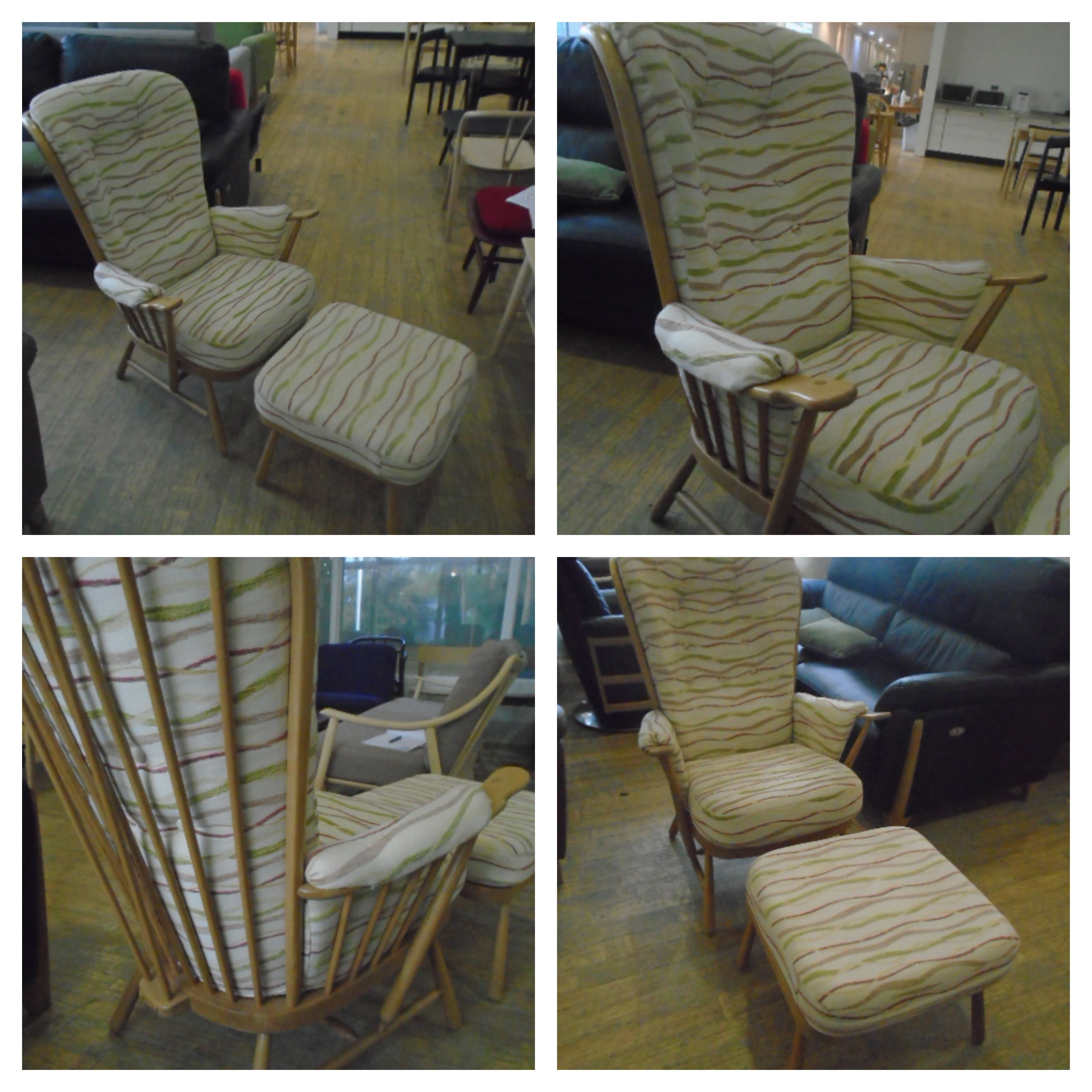Admirable Evergreen Chair And Footstool In Straw Finish And Fabric Gamerscity Chair Design For Home Gamerscityorg